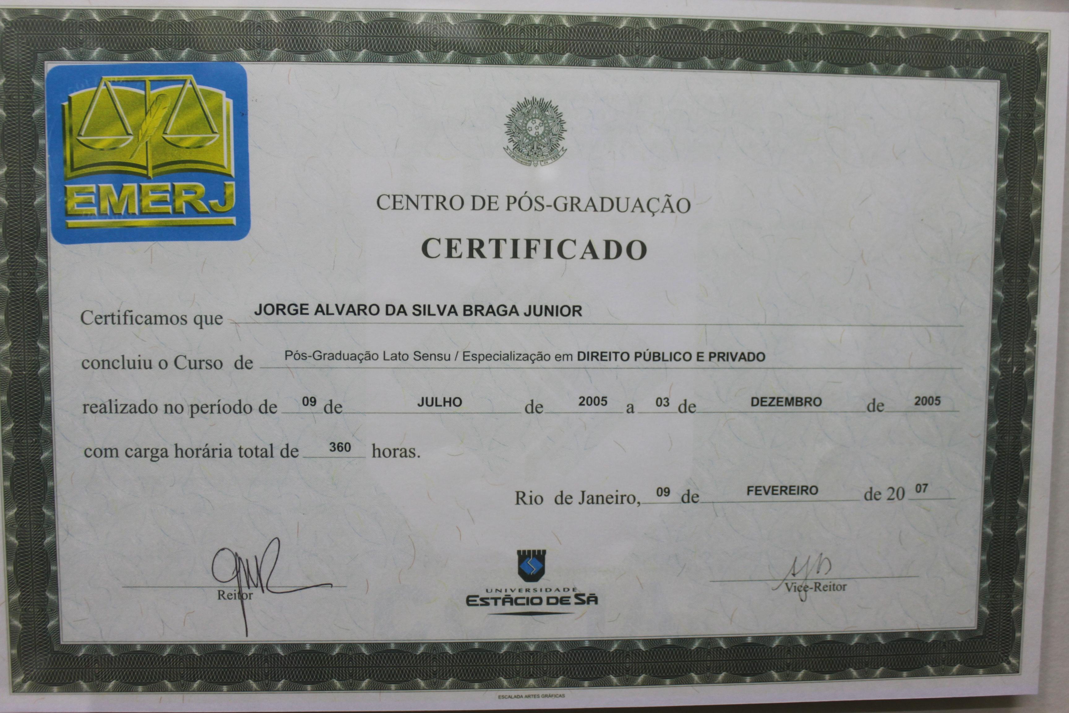 Certificado Pós-Graduação EMERJ-UNESA
