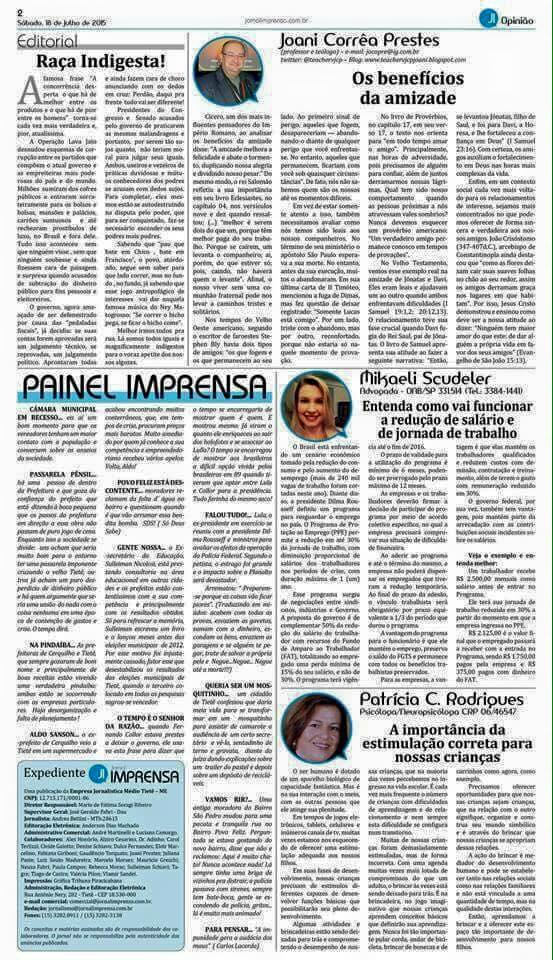 Matéria para Jornal Imprensa 20/07/2015