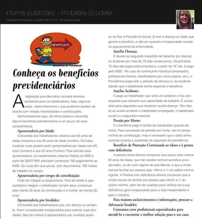 Matéria para Revista Evidência